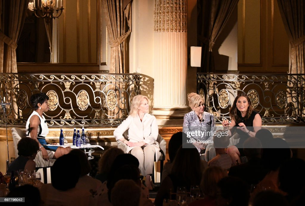 Cheryl Wills, Daryl Roth, Congresswoman Carolyn B. Maloney, and Actress Mariska Hargitay speak onstage at The 7th Annual Elly Awards at The Plaza Hotel on June 19, 2017 in New York City.