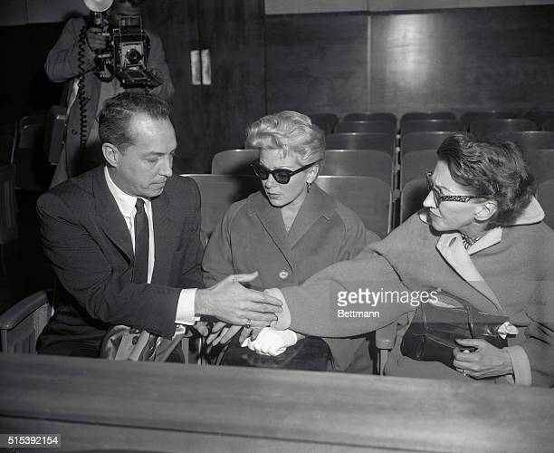 Cheryl's Family at Hearing Los Angeles California Steve Crane greets his former motherinlaw Mrs Mildred Turner while his exwife actress Lana Turner...
