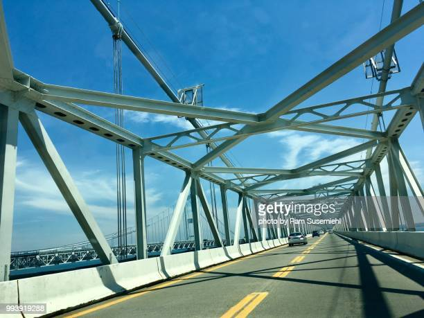 chesapeake bay bridge, car pov - chesapeake bay bridge stock pictures, royalty-free photos & images