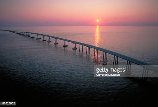 chesapeake bay bridge tunnel at sunset , virginia - chesapeake bay bridge tunnel stock photos and pictures