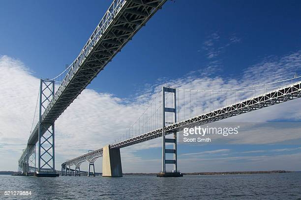 chesapeake bay bridges crossing chesapeake bay - chesapeake bay bridge stock pictures, royalty-free photos & images