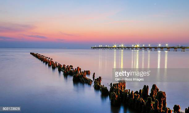 chesapeake bay morning - norfolk virginia stock photos and pictures