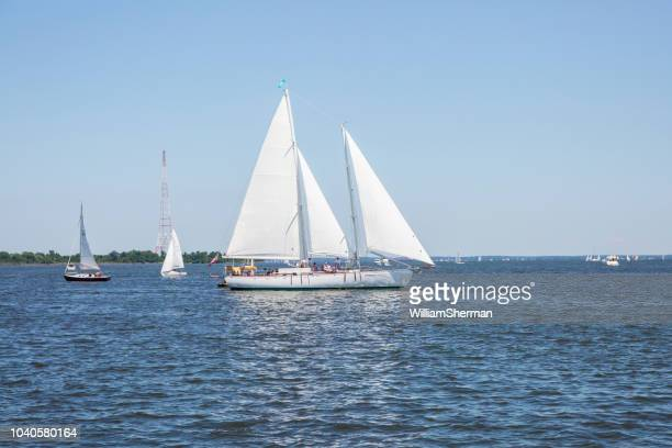 a chesapeake bay skipjack sailing boat with passengers in annapolis - chesapeake bay stock pictures, royalty-free photos & images