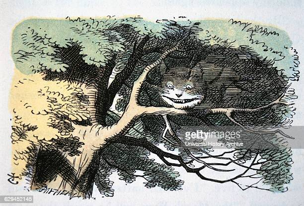 Cheshire Cat Alice's Adventure in Wonderland by Lewis Carroll Hand Colored Illustration Circa 1865