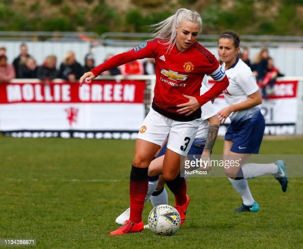 Cheshunt UK 31 March2019 Alex Greenwood of Manchester United Women during The FA Women's Championship match between Tottenham Hotspur Ladies and...