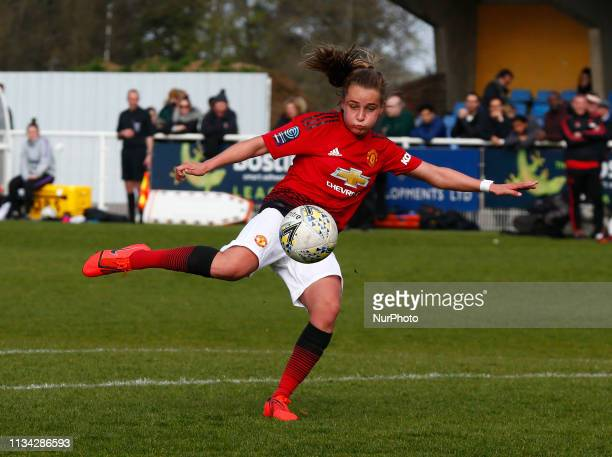 Cheshunt UK 31 March2019 Charlie Devlin of Manchester United Women during The FA Women's Championship match between Tottenham Hotspur Ladies and...
