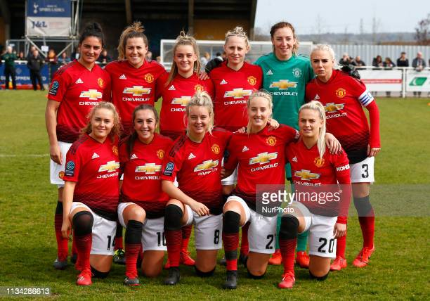 Cheshunt UK 31 March2019 Manchester United Women Team Shoot LR Jess Sigsworth Amy Turner Ella Toone Leah Galton Siobhan Chamberlain and Alex...