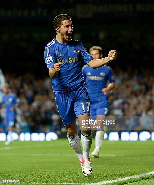 Cheslea's Eden Hazard celebrates after setting up teammate Branislav Ivanovic to score his side's fourth goal of the game