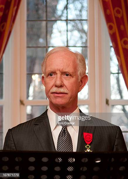 Chesley Sullenber speaks during a presentation as he is awarded the Officier Award at the French Ambassador's Residence on December 17 2010 in...