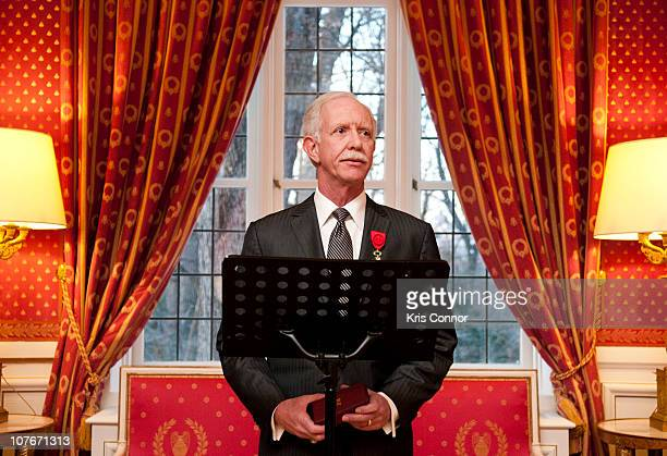 Chesley Sullenberger speaks during a presentation where he is awarded the Officier Award at the French Ambassador's Residence on December 17 2010 in...