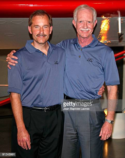 Chesley Sully Sullenberger and Jeffrey Skiles attend the Harrison Ford EAA Young Eagles press conference at the Santa Monica Airport on September 29...