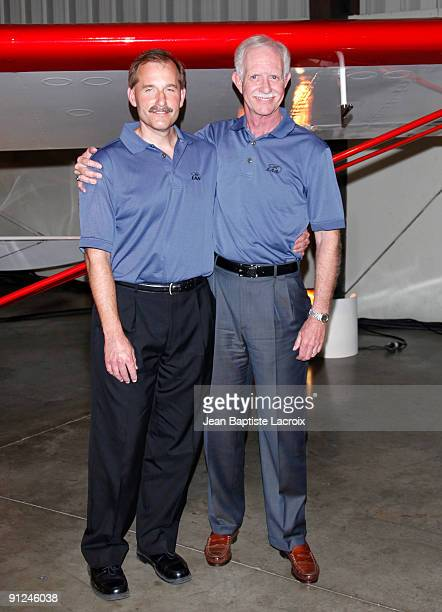Chesley Sully Sullenberger and Jeffrey Skiles attends the Harrison Ford EAA Young Eagles press conference at the Santa Monica Airport on September 29...