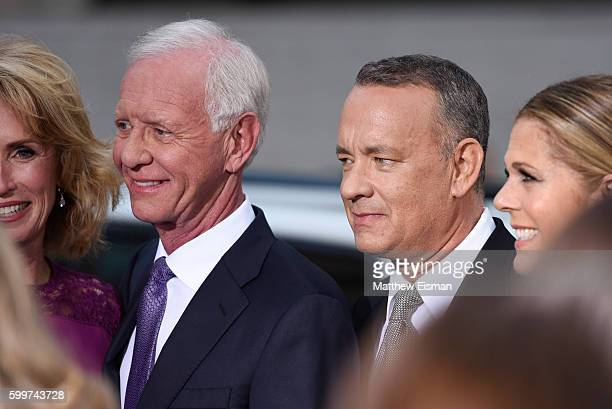 """Chesley """"Sully"""" Sullenberger and Tom Hanks attend the """"Sully"""" New York Premiere at Alice Tully Hall on September 6, 2016 in New York City."""