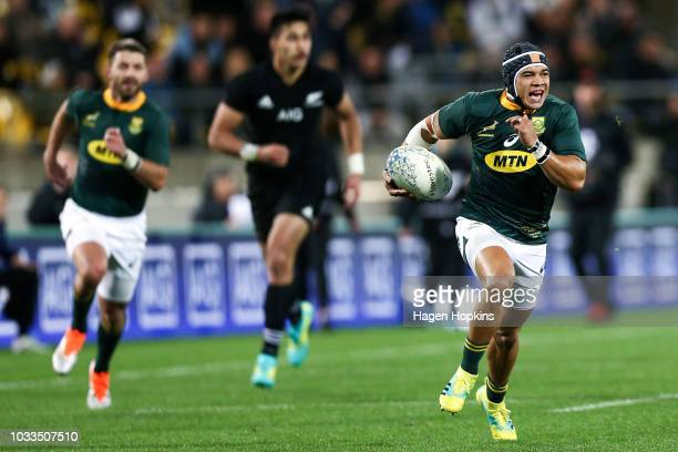 Cheslin Kolbe of South Africa breaks away for a try during The Rugby Championship match between the New Zealand All Blacks and the South Africa...