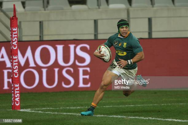 Cheslin Kolbe of South Africa crosses the tryline to score a try during the 3rd Test between South Africa and the British & Irish Lions at FNB...