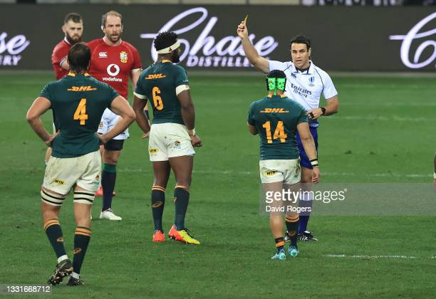 Cheslin Kolbe of South Africa is shown the yellow card by referee Ben O'Keeffe after a tackle on Conor Murray during the 2nd test match between South...