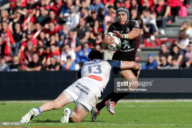 Cheslin Kolbe of Toulouse in action during the French Top 14 match between Stade Toulousain and Castres at Stade Ernest Wallon on May 19 2018 in...