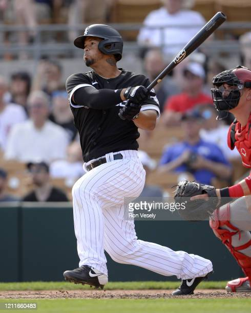 Cheslor Cuthbert of the Chicago White Sox bats against the Cincinnati Reds on March 9, 2020 at Camelback Ranch in Glendale Arizona.