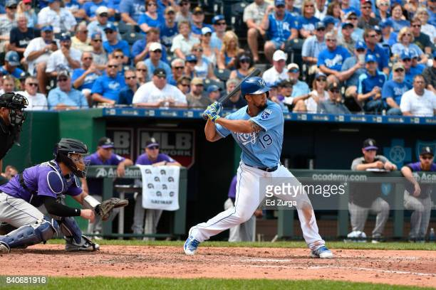 Cheslor Cuthbert of the Kansas City Royals bats against the Colorado Rockies at Kauffman Stadium on August 24 2017 in Kansas City Missouri