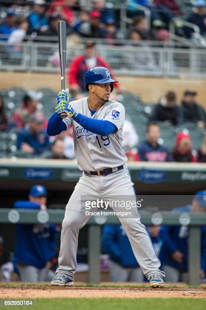 Cheslor Cuthbert of the Kansas City Royals bats against the Minnesota Twins on May 21 2017 at Target Field in Minneapolis Minnesota The Twins...