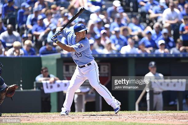 Cheslor Cuthbert of the Kansas City Royals bats against the Seattle Mariners on July 10 2016 at Kauffman Stadium in Kansas City Missouri The Seattle...