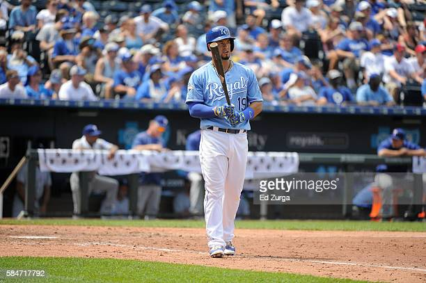 Cheslor Cuthbert of the Kansas City Royals bats against the Texas Rangers at Kauffman Stadium on July 24 2016 in Kansas City Missouri