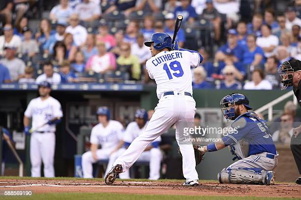 Cheslor Cuthbert of the Kansas City Royals bats against the Toronto Blue Jays on August 6 2016 at Kauffman Stadium in Kansas City Missouri The Kansas...