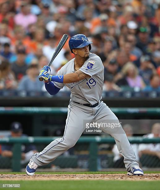 Cheslor Cuthbert of the Kansas City Royals bats during the fifth inning of the game against the Detroit Tigers on July 15 2016 at Comerica Park in...