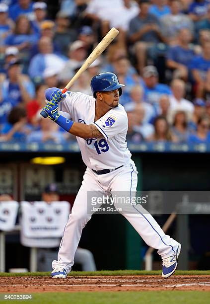 Cheslor Cuthbert of the Kansas City Royals bats during the game against the Cleveland Indians at Kauffman Stadium on June 14 2016 in Kansas City...