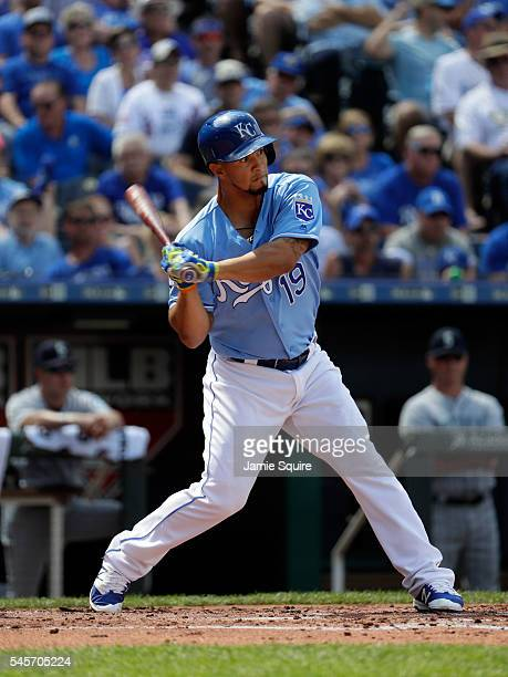 Cheslor Cuthbert of the Kansas City Royals bats during the game against the Seattle Mariners at Kauffman Stadium on July 9, 2016 in Kansas City,...