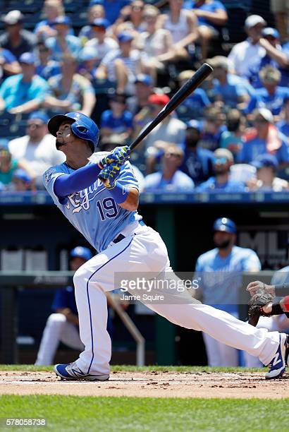 Cheslor Cuthbert of the Kansas City Royals bats during the game against the Cleveland Indians at Kauffman Stadium on July 20 2016 in Kansas City...