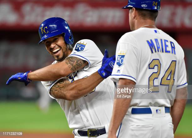 Cheslor Cuthbert of the Kansas City Royals celebrates a RBI single in the fourth inning against the Baltimore Orioles at Kauffman Stadium on August...