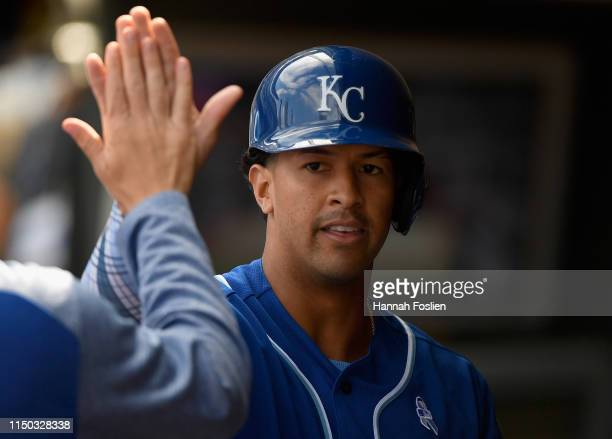 Cheslor Cuthbert of the Kansas City Royals celebrates scoring a run against the Minnesota Twins during the eighth inning of the game on June 16, 2019...