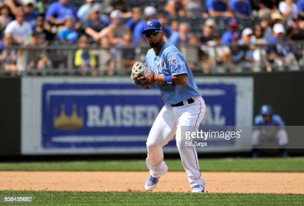 Cheslor Cuthbert of the Kansas City Royals fields a ball against the Cleveland Indians at Kauffman Stadium on August 20 2017 in Kansas City Missouri