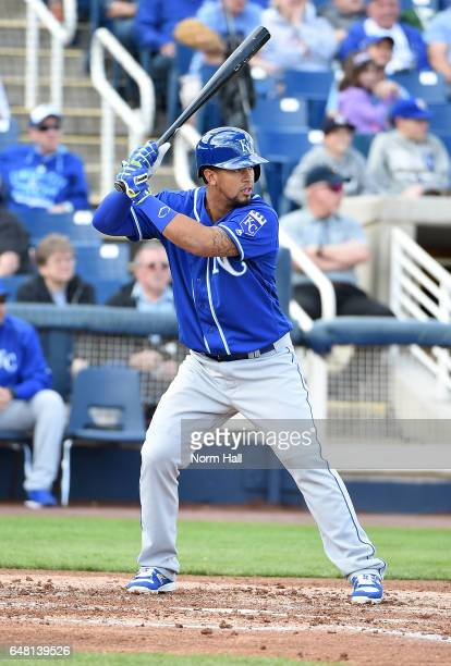 Cheslor Cuthbert of the Kansas City Royals gets ready in the batters box against the Milwaukee Brewers at Maryvale Baseball Park on February 28 2017...