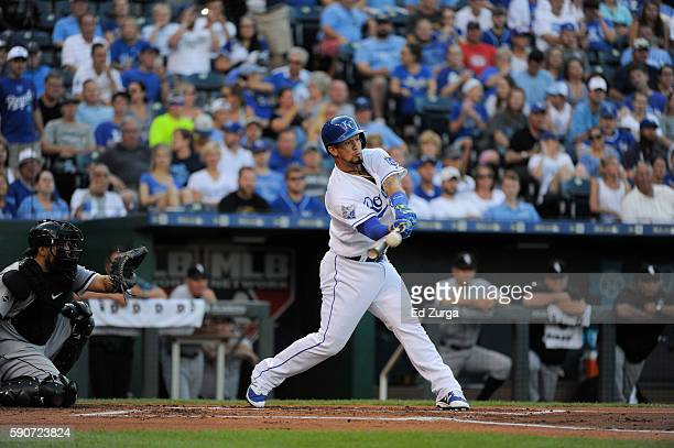 Cheslor Cuthbert of the Kansas City Royals hits against the Chicago White Sox at Kauffman Stadium on August 9 2016 in Kansas City Missouri