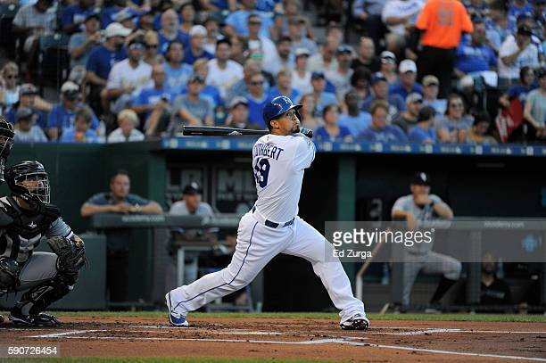 Cheslor Cuthbert of the Kansas City Royals hits against the Chicago White Sox at Kauffman Stadium on August 10 2016 in Kansas City Missouri