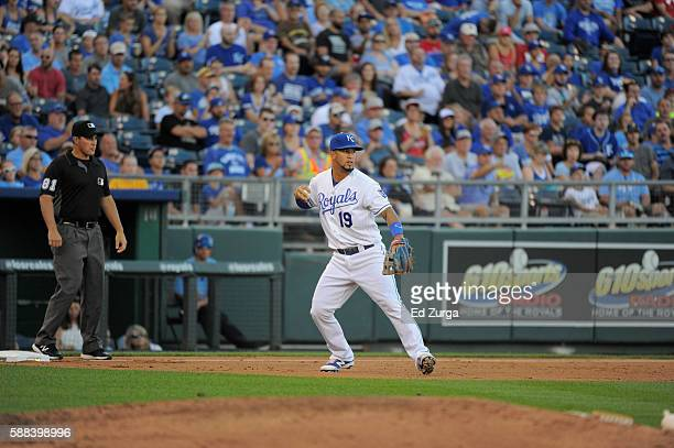 Cheslor Cuthbert of the Kansas City Royals in action against the Toronto Blue Jays at Kauffman Stadium on August 6 2016 in Kansas City Missouri