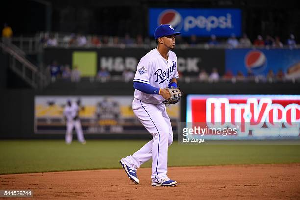Cheslor Cuthbert of the Kansas City Royals in action at third base against the St. Louis Cardinals as he tries to steal third at Kauffman Stadium on...