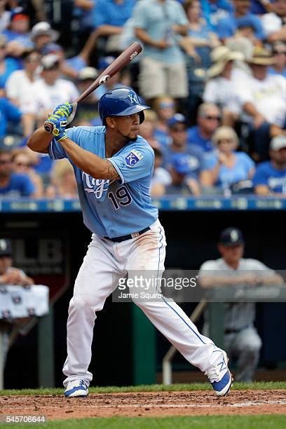 Cheslor Cuthbert of the Kansas City Royals in action during the game against the Seattle Mariners at Kauffman Stadium on July 9, 2016 in Kansas City,...