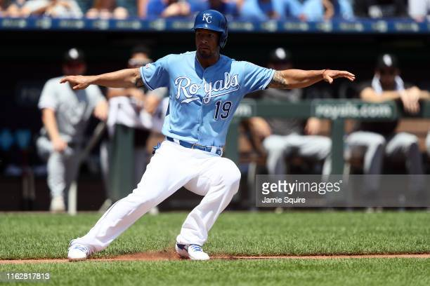 Cheslor Cuthbert of the Kansas City Royals is caught in a rundown during the 1st inning of the game against the Chicago White Sox at Kauffman Stadium...