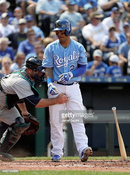 Cheslor Cuthbert of the Kansas City Royals is tagged out by catcher Chris Iannetta of the Seattle Mariners after a third strike to end the 2nd inning...