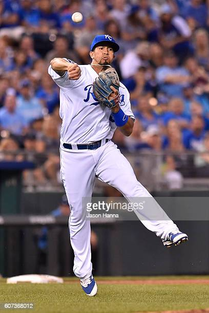 Cheslor Cuthbert of the Kansas City Royals makes a charging play on a softly hit ground ball against the Chicago White Sox during the fifth inning at...