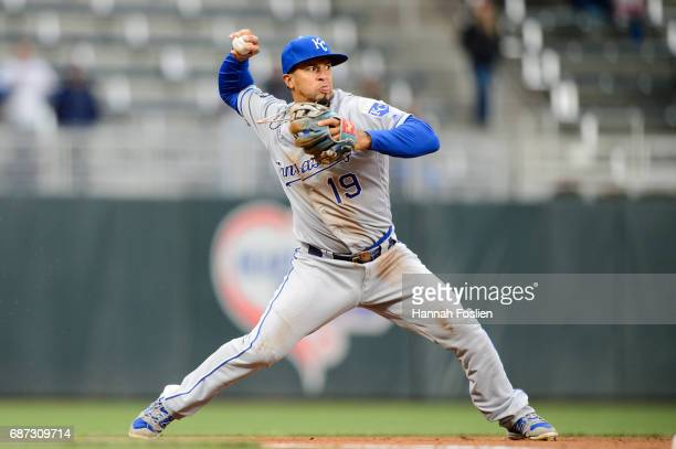 Cheslor Cuthbert of the Kansas City Royals makes a play at third base against the Minnesota Twins during game two of a doubleheader on May 21 2017 at...