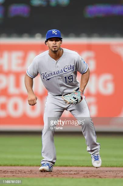 Cheslor Cuthbert of the Kansas City Royals plays first base against the Baltimore Orioles at Oriole Park at Camden Yards on August 19, 2019 in...