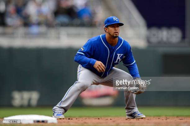 Cheslor Cuthbert of the Kansas City Royals plays third base against the Minnesota Twins during the game on April 5 2017 at Target Field in...