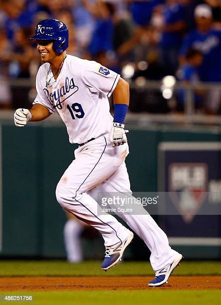 Cheslor Cuthbert of the Kansas City Royals rounds the bases after hitting a home run during the 5th inning of the game against the Detroit Tigers at...