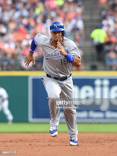 Cheslor Cuthbert of the Kansas City Royals runs the bases during the game against the Detroit Tigers at Comerica Park on July 16 2016 in Detroit...