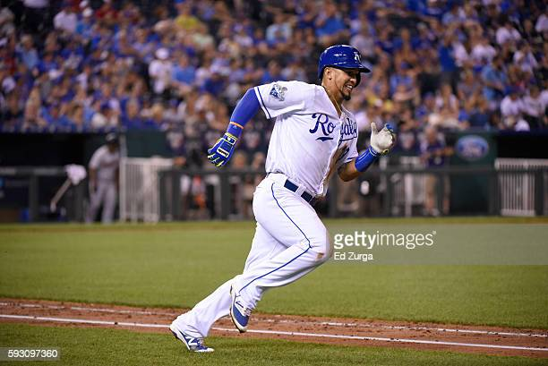 Cheslor Cuthbert of the Kansas City Royals runs to first after hitting against the Minnesota Twins at Kauffman Stadium on August 18 2016 in Kansas...