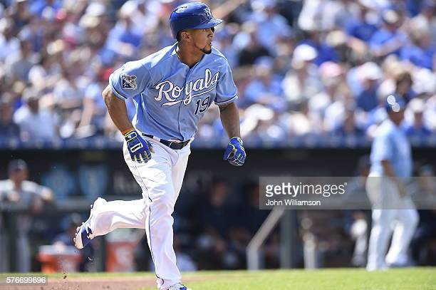 Cheslor Cuthbert of the Kansas City Royals runs to first base after hitting the ball in the game against the Seattle Mariners on July 9 2016 at...